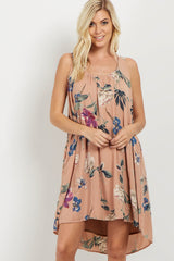 Pink Floral Open Back Dress