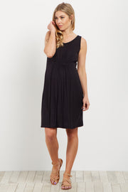 Black Cinched Front Sleeveless Maternity Dress