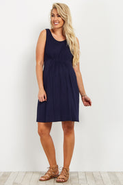 Navy Cinched Front Sleeveless Maternity Dress