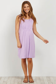 Lavender Cinched Front Sleeveless Maternity Dress