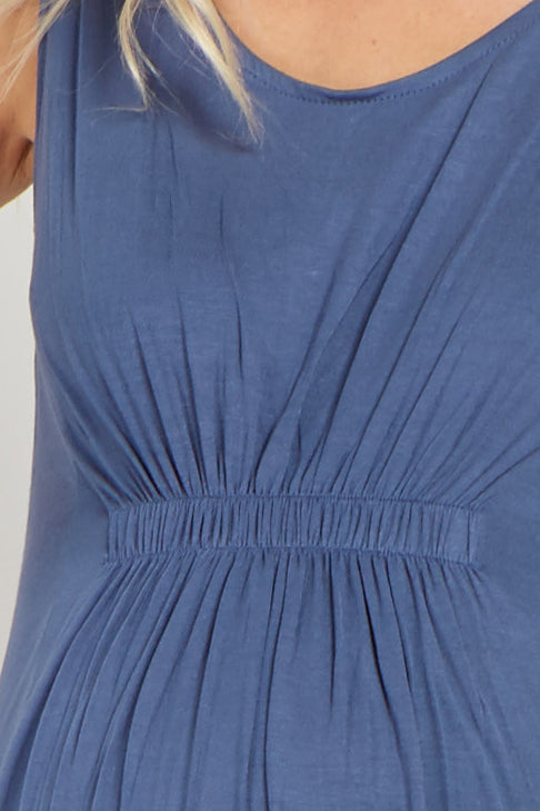 Blue Cinched Front Sleeveless Maternity Dress
