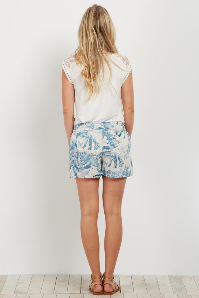 Teal Abstract Printed Maternity Short
