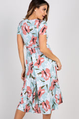 Mint Floral Hi-Low Wrap Dress