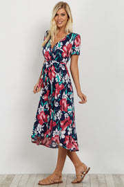 Navy Floral Hi-Low Wrap Dress