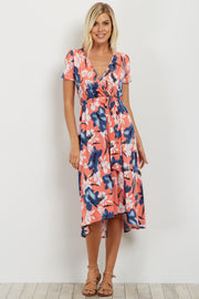 Coral Floral Hi-Low Wrap Dress