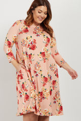 Pink Floral Plus Swing Dress