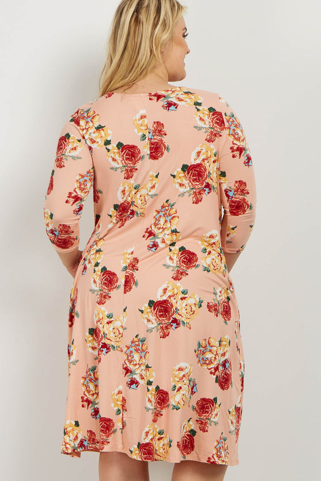 Pink Floral Plus Maternity Swing Dress