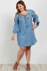 Light Blue Denim Floral Embroidered Lace Up Plus Maternity Dress
