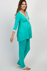 Aqua Lace Trim Maternity Pajama Set