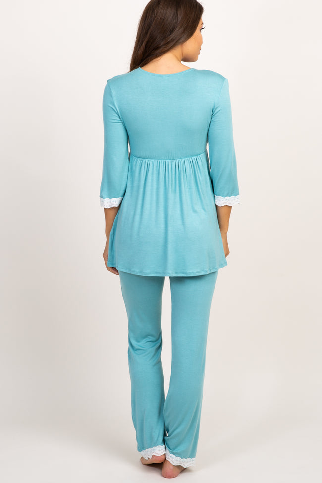Light Blue Lace Trim Maternity Pajama Set