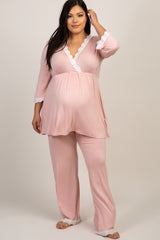 PinkBlush Pink Lace Trim Plus Maternity Pajama Set