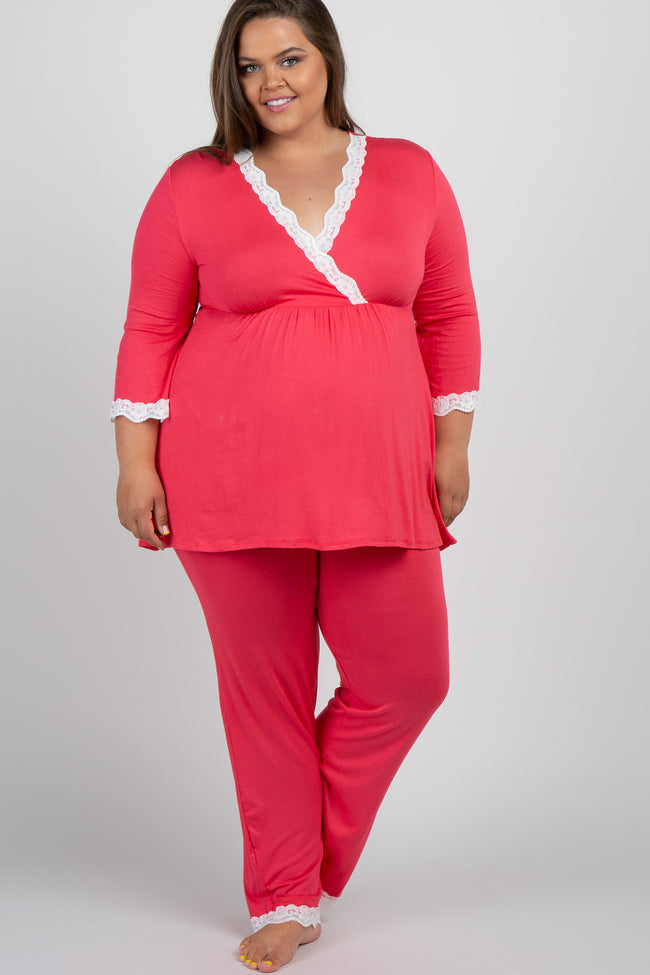 Coral Lace Trim Plus Maternity Pajama Set
