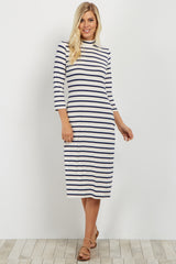Navy Striped Mock Neck Maternity Midi Dress