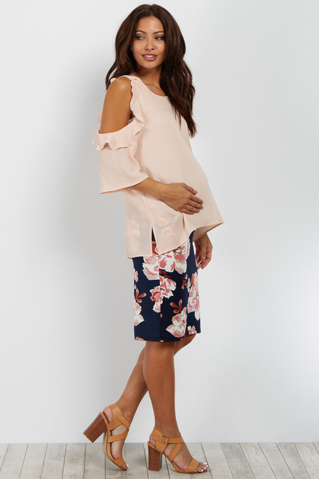 Navy Floral Fitted Maternity Skirt