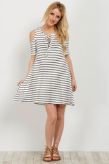 White Striped Lace Up Cold Shoulder Dress