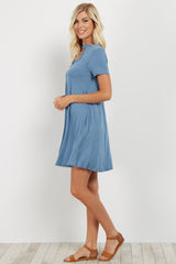 Blue Crisscross Accent Cutout Dress