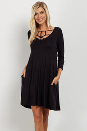 Black Caged Front Shift Dress
