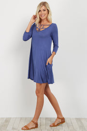 Blue Caged Front Shift Dress