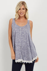 Blue Heathered Crochet Trim Maternity Tank Top