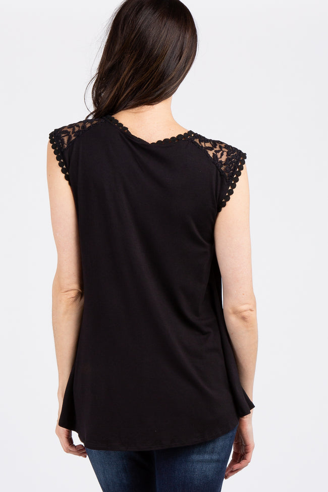 Black Solid Lace Accent Top