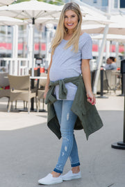 Blue Raw Cut Maternity Skinny Jeans