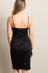 Black Sweetheart Fitted Maternity Cami Dress