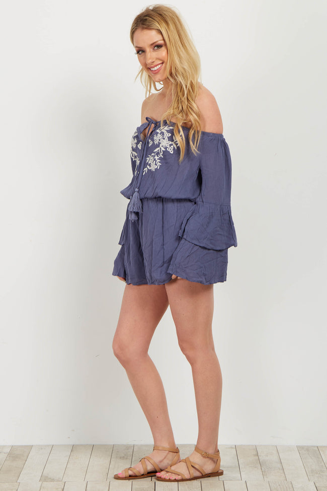 Blue Embroidered Off Shoulder Romper