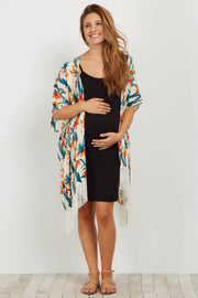 Multi-Color Tropical Fringe Maternity Kimono