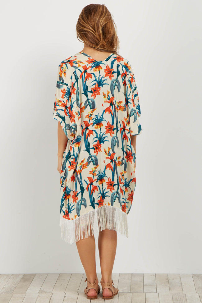 Multi-Color Tropical Fringe Maternity Cover Up