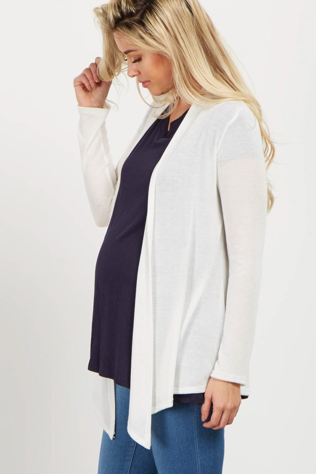 Cream Long Sleeve Maternity Cardigan