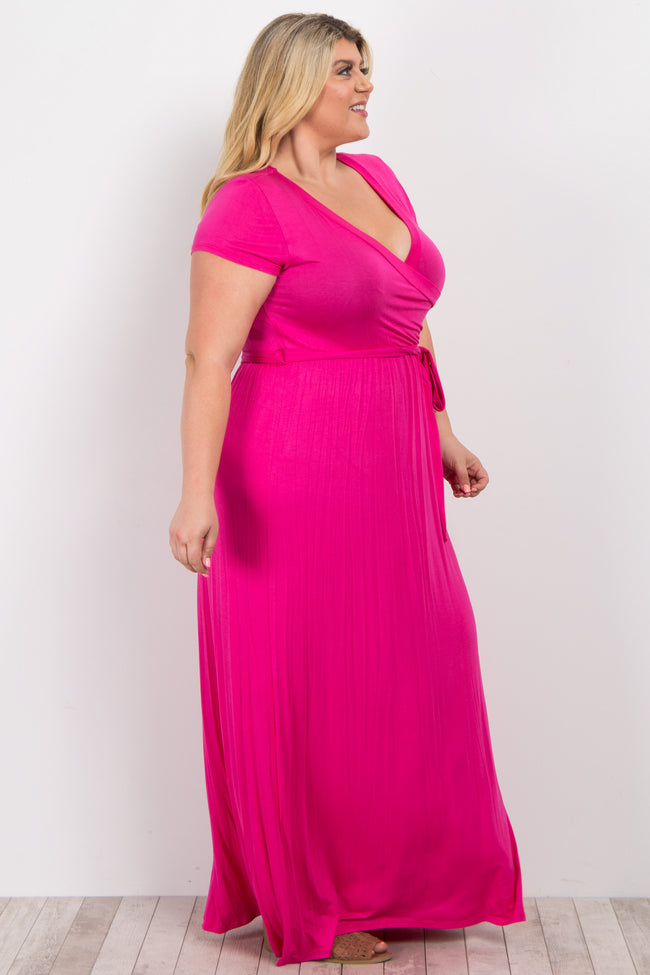Pink Sash Tie Wrap Plus Maxi Dress
