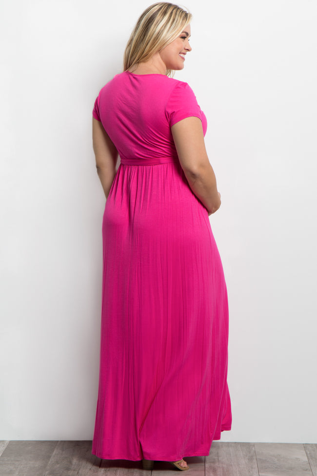 Pink Sash Tie Wrap Plus Maternity/Nursing Maxi Dress