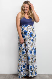 Blue Floral Colorblock Plus Maternity Maxi Dress
