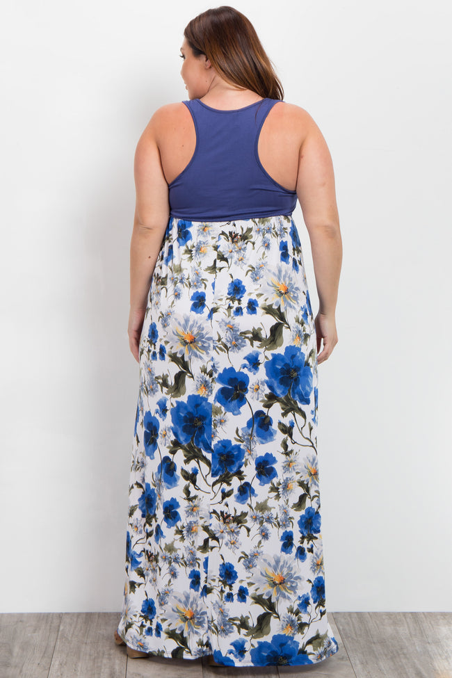 Blue Floral Colorblock Plus Maxi Dress