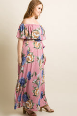 Pink Floral Off Shoulder Sash Tie Plus Maxi Dress