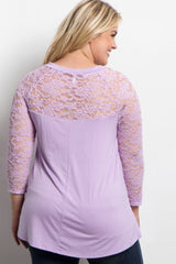 Lavender Lace Sleeve Plus Maternity Top