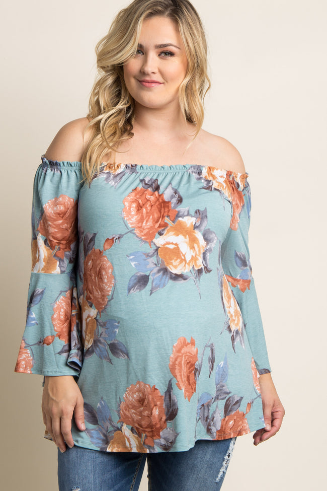 Green Floral Off Shoulder Bell Sleeve Plus Maternity Top