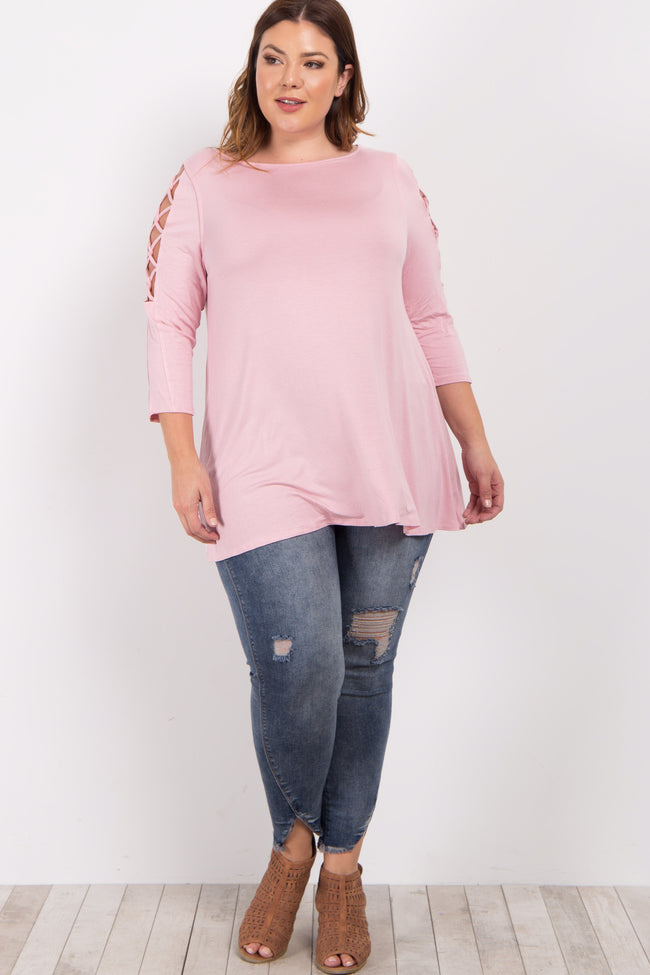 Pink Crisscross Open Shoulder Plus Top