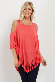Coral Fringed Cold Shoulder Top