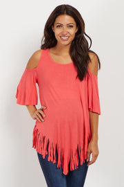 Coral Fringed Cold Shoulder Maternity Top