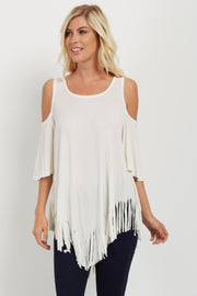 Ivory Fringed Cold Shoulder Top