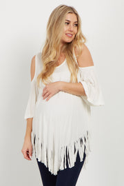 Ivory Fringed Cold Shoulder Maternity Top