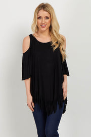 Black Fringed Cold Shoulder Top