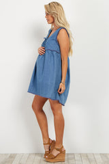 Blue Chambray Lace Up Fringe Maternity Dress