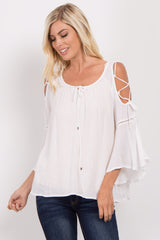 Ivory Lace-Up Bell Sleeve Blouse