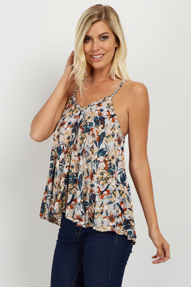 Rust Floral Braided Strap Top