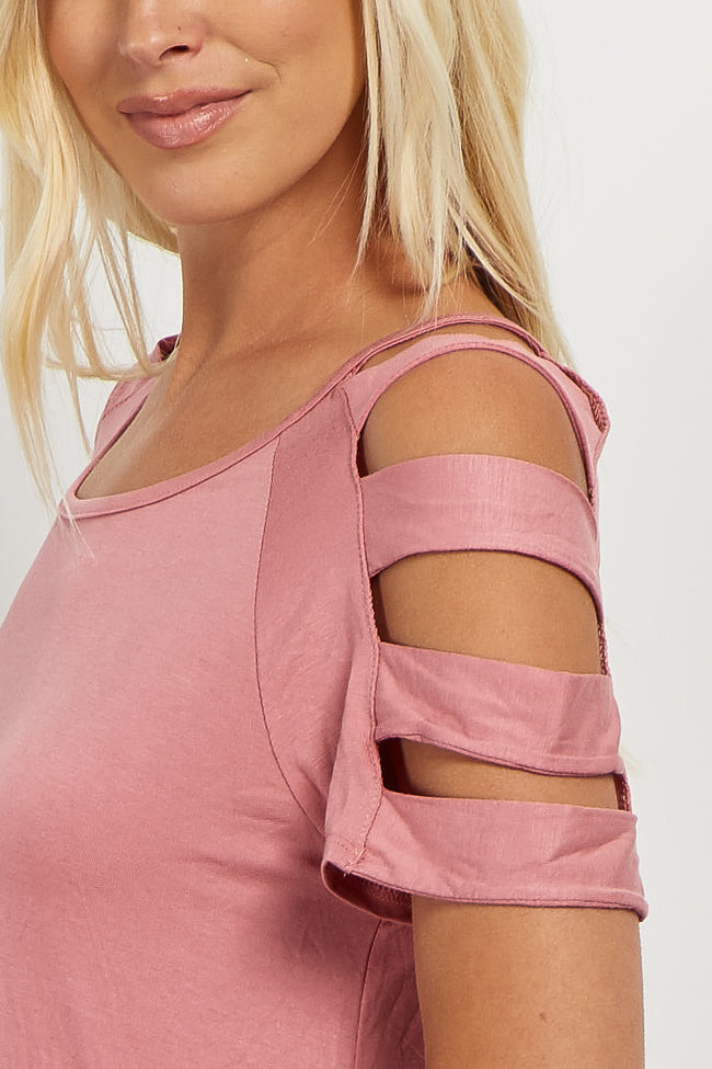 Pink Solid Open Shoulder Cutout Top