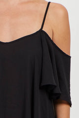 Black Solid Open Shoulder Top