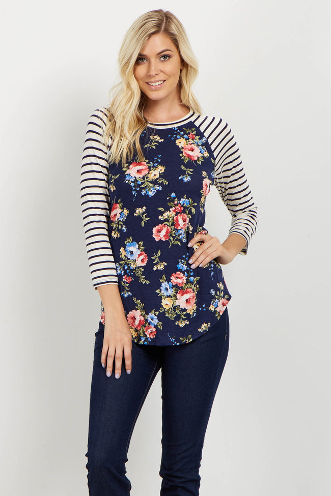 Navy Floral Striped Colorblock Top