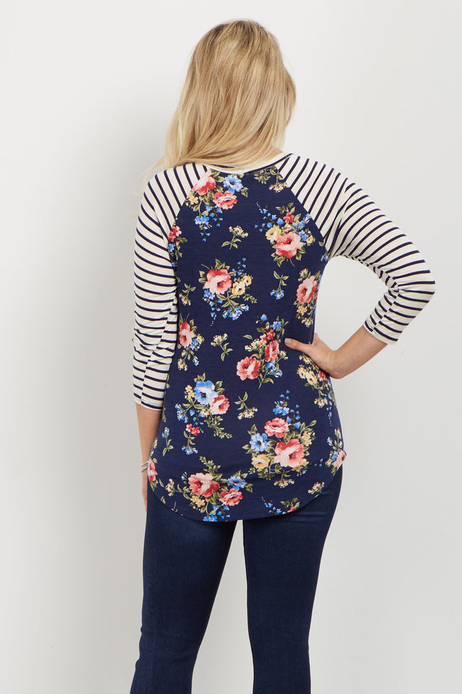 Navy Floral Striped Colorblock Maternity Top